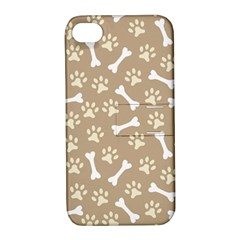 Background Bones Small Footprints Brown Apple iPhone 4/4S Hardshell Case with Stand