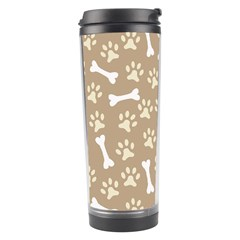Background Bones Small Footprints Brown Travel Tumbler