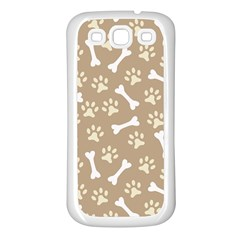 Background Bones Small Footprints Brown Samsung Galaxy S3 Back Case (White)