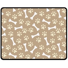Background Bones Small Footprints Brown Double Sided Fleece Blanket (Medium)