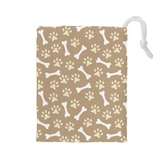 Background Bones Small Footprints Brown Drawstring Pouches (Large)