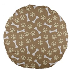 Background Bones Small Footprints Brown Large 18  Premium Flano Round Cushions