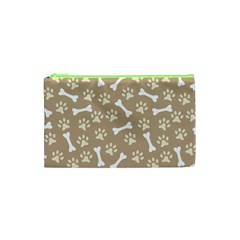 Background Bones Small Footprints Brown Cosmetic Bag (XS)