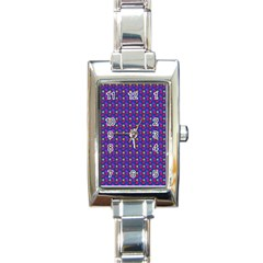 Beach Blue High Quality Seamless Pattern Purple Red Yrllow Flower Floral Rectangle Italian Charm Watch