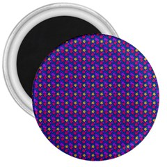 Beach Blue High Quality Seamless Pattern Purple Red Yrllow Flower Floral 3  Magnets