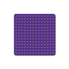 Beach Blue High Quality Seamless Pattern Purple Red Yrllow Flower Floral Square Magnet