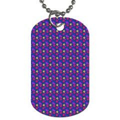 Beach Blue High Quality Seamless Pattern Purple Red Yrllow Flower Floral Dog Tag (Two Sides)