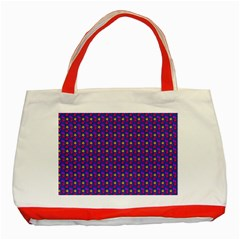 Beach Blue High Quality Seamless Pattern Purple Red Yrllow Flower Floral Classic Tote Bag (Red)