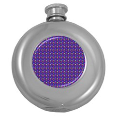 Beach Blue High Quality Seamless Pattern Purple Red Yrllow Flower Floral Round Hip Flask (5 oz)
