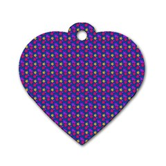 Beach Blue High Quality Seamless Pattern Purple Red Yrllow Flower Floral Dog Tag Heart (Two Sides)
