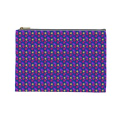 Beach Blue High Quality Seamless Pattern Purple Red Yrllow Flower Floral Cosmetic Bag (Large)