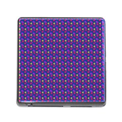 Beach Blue High Quality Seamless Pattern Purple Red Yrllow Flower Floral Memory Card Reader (Square)