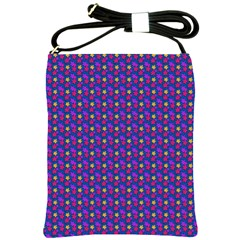 Beach Blue High Quality Seamless Pattern Purple Red Yrllow Flower Floral Shoulder Sling Bags