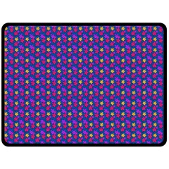 Beach Blue High Quality Seamless Pattern Purple Red Yrllow Flower Floral Fleece Blanket (Large)