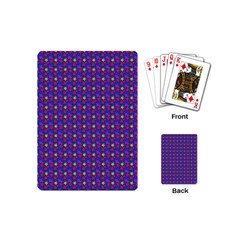 Beach Blue High Quality Seamless Pattern Purple Red Yrllow Flower Floral Playing Cards (Mini)