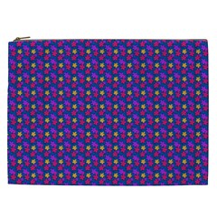 Beach Blue High Quality Seamless Pattern Purple Red Yrllow Flower Floral Cosmetic Bag (XXL)