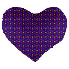 Beach Blue High Quality Seamless Pattern Purple Red Yrllow Flower Floral Large 19  Premium Heart Shape Cushions