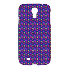 Beach Blue High Quality Seamless Pattern Purple Red Yrllow Flower Floral Samsung Galaxy S4 I9500/I9505 Hardshell Case