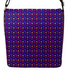 Beach Blue High Quality Seamless Pattern Purple Red Yrllow Flower Floral Flap Messenger Bag (S)