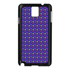 Beach Blue High Quality Seamless Pattern Purple Red Yrllow Flower Floral Samsung Galaxy Note 3 N9005 Case (Black)