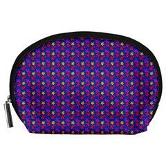 Beach Blue High Quality Seamless Pattern Purple Red Yrllow Flower Floral Accessory Pouches (Large)