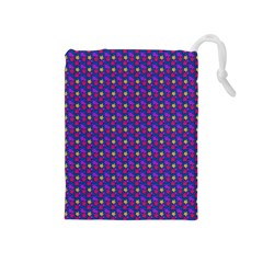 Beach Blue High Quality Seamless Pattern Purple Red Yrllow Flower Floral Drawstring Pouches (Medium)