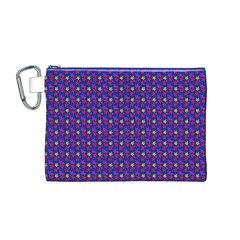 Beach Blue High Quality Seamless Pattern Purple Red Yrllow Flower Floral Canvas Cosmetic Bag (M)