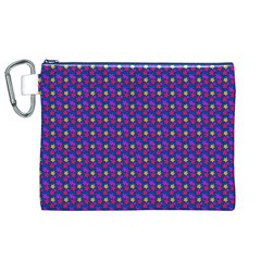 Beach Blue High Quality Seamless Pattern Purple Red Yrllow Flower Floral Canvas Cosmetic Bag (XL)