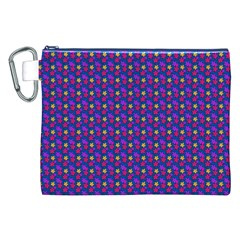 Beach Blue High Quality Seamless Pattern Purple Red Yrllow Flower Floral Canvas Cosmetic Bag (XXL)