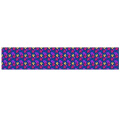 Beach Blue High Quality Seamless Pattern Purple Red Yrllow Flower Floral Flano Scarf (Large)