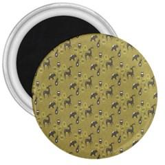 Animals Deer Owl Bird Grey 3  Magnets