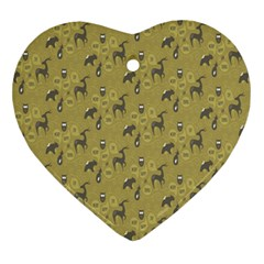 Animals Deer Owl Bird Grey Ornament (Heart)