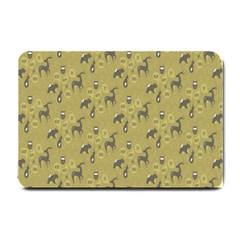 Animals Deer Owl Bird Grey Small Doormat
