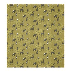Animals Deer Owl Bird Grey Shower Curtain 66  x 72  (Large)