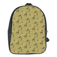 Animals Deer Owl Bird Grey School Bags(Large)