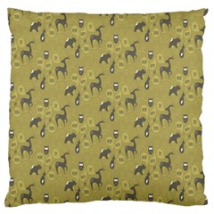 Animals Deer Owl Bird Grey Large Cushion Case (Two Sides)