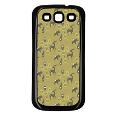 Animals Deer Owl Bird Grey Samsung Galaxy S3 Back Case (Black)