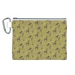 Animals Deer Owl Bird Grey Canvas Cosmetic Bag (L)