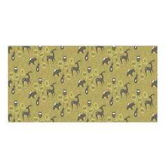 Animals Deer Owl Bird Grey Satin Shawl