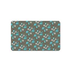Animals Deer Owl Bird Bear Bird Blue Grey Magnet (Name Card)