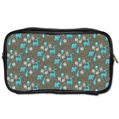 Animals Deer Owl Bird Bear Bird Blue Grey Toiletries Bags