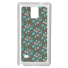 Animals Deer Owl Bird Bear Bird Blue Grey Samsung Galaxy Note 4 Case (White)