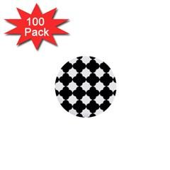 Black Four Petal Flowers 1  Mini Buttons (100 pack)