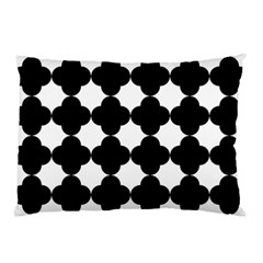 Black Four Petal Flowers Pillow Case