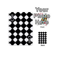 Black Four Petal Flowers Playing Cards 54 (Mini)