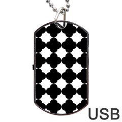 Black Four Petal Flowers Dog Tag USB Flash (One Side)