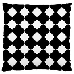 Black Four Petal Flowers Large Cushion Case (Two Sides)