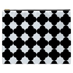 Black Four Petal Flowers Cosmetic Bag (XXXL)