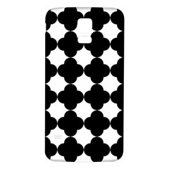 Black Four Petal Flowers Samsung Galaxy S5 Back Case (White)