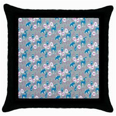 Animals Deer Owl Bird Bear Grey Blue Throw Pillow Case (Black)